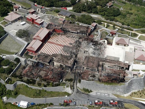 An aerial view shows the burned down Shuri Castle, listed as a World Heritage site in Japan
