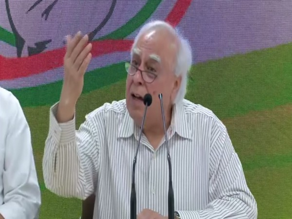 Senior Congress leader Kapil Sibal addressing a press conference on Saturday. Photo/ANI
