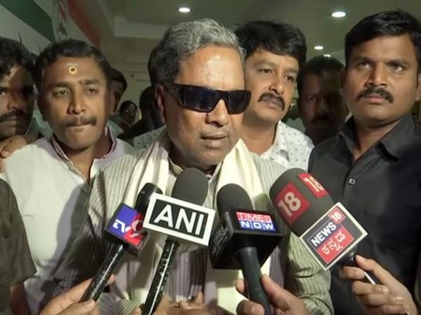 Former CM Siddaramaiah speaking to media persons on Monday in Bengaluru. Photo/ANI