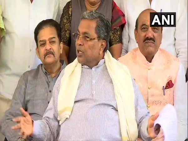 Congress leader Siddaramaiah speaking to reporters on Friday