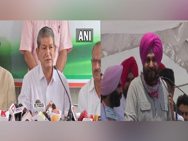 Congress leaders Harish Rawat and Navjot Singh Sidhu. [File Photo/ANI]