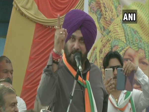 Congress leader Navjot Singh Sidhu addressing an election rally in Bilaspur, Himachal Pradesh on Wednesday.