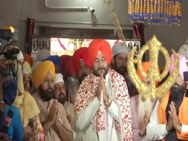 Congress leader Navjot Singh Sidhu offering prayers in Gurdwara Sri Nanaksar Sahib Verka on Tuesday.