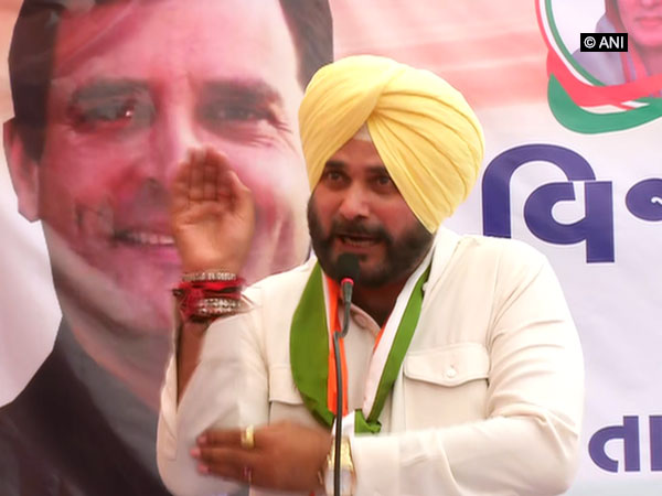 Punjab cabinet minister Navjot Sidhu while addressing a public rally in Ahmedabad on Wednesday. Photo: ANI