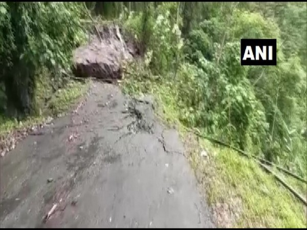 Mangan-Chungthang road in North Sikkim damaged after heavy rainfall. Photo/ANI