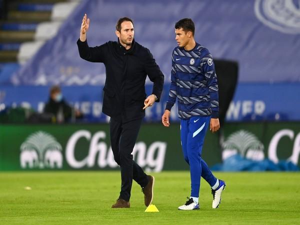 Chelsea defender Thiago Silva with Frank Lampard (Photo/ Thiago Silva Twitter)