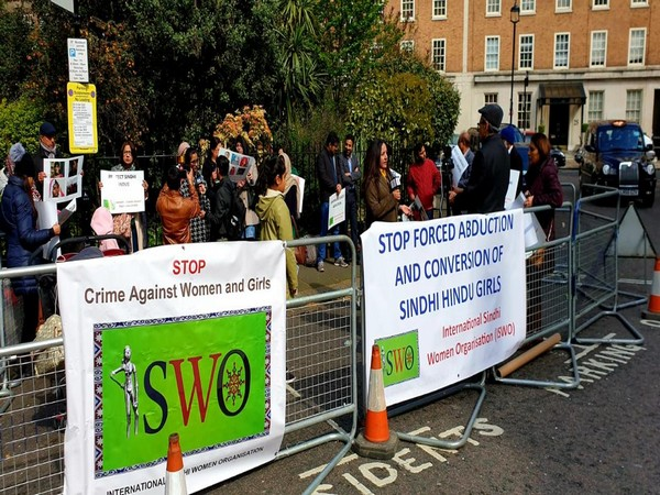A group of Sindhi women hold protests outside the Pakistan High Commission in London on Saturday