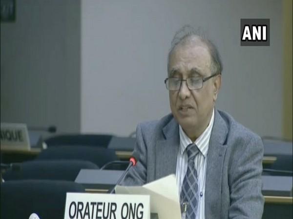 Secretary-General of World Sindhi Congress, Lakhu Luhana speaking at the United Nations on Thursday.