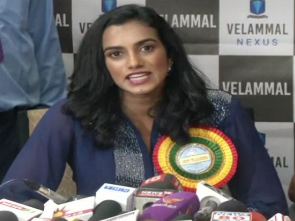 Ace shuttler PV Sindhu speaking to reporters in Chennai on Thursday. Photo/ANI