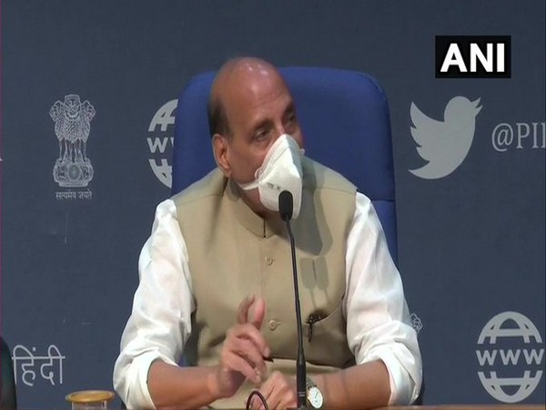 Defence Minister Rajnath Singh speaking to reporters in New Delhi on Sunday.