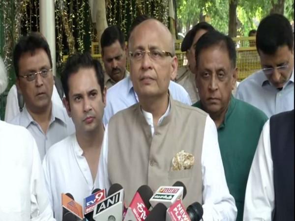 Congress leader Abhishek Manu Singhvi addressing reporters in New Delhi on Monday. Photo/ANI