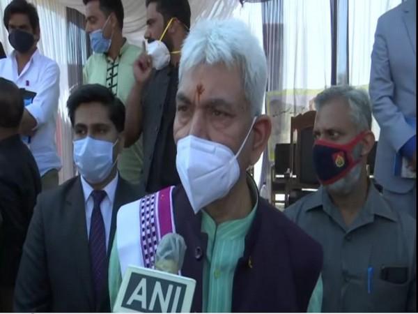 J-K LG Manoj Sinha speaking to ANI in Bandipora on Saturday. [Photo: ANI]