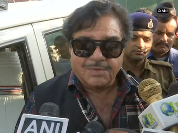MP Shatrughan Sinha speaking to reporters in Patna on Thursday.