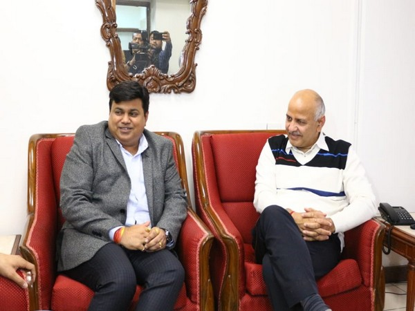 Delhi Deputy CM Manish Sisodia with Maharashtra Education minister Uday Samant in New Delhi. Photo/ANI