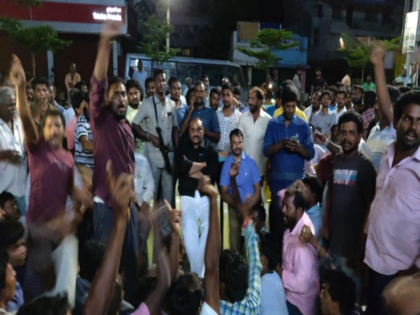 Senior TDP leader K Acchen Naidu at the sit-in protest in Srikakulam. Photo/ANI