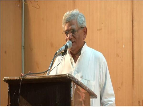 Sitaram yechury speaking at a public meeting in Bhopal, Madhya Pradesh. Photo/ANI