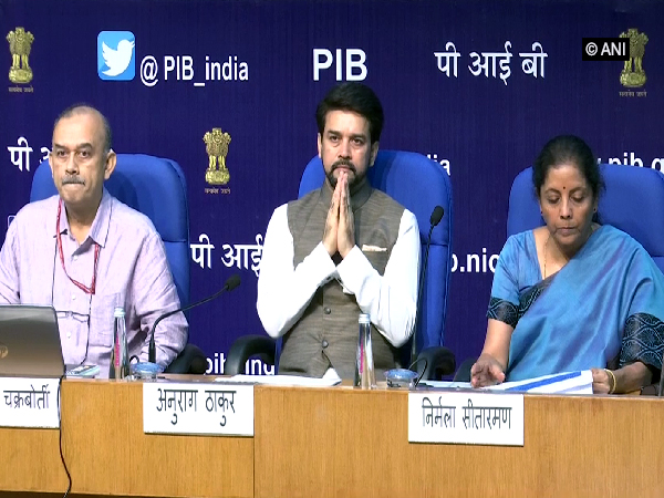 Finance Minister Nirmala Sitharaman addressing a press conference in New Delhi on Saturday (Photo/ANI)