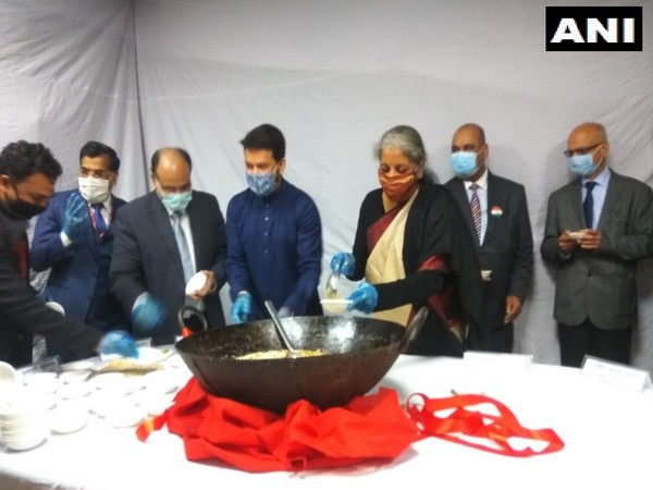 A visual from 'Halwa ceremony' held at North Block in New Delhi on Saturday. (Photo/ANI)