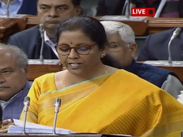 Finance Minister Nirmala Sitharaman speaking in Parliament during budget presentation on Saturday.