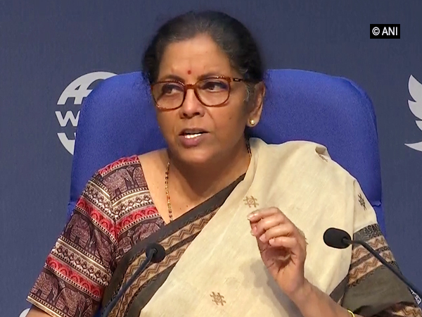 Finance Minister Nirmala Sitharaman during a press conference in New Delhi on Saturday.        Photo/ANI