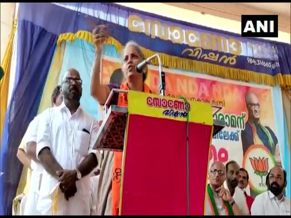 Union Finance Minister Nirmala Sitharaman addressing a public rally in Kerala. (Photo/ ANI)