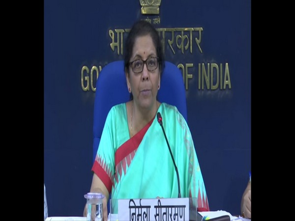Union Finance Minister Nirmala Sitharaman addressing a press conference after the Cabinet meeting in New Delhi on Wednesday. Photo/ANI