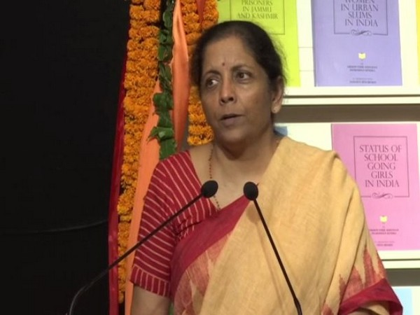 Finance Minister Nirmala Sitharaman speaking at an event conducted by the RSS liked organisation in New Delhi on Tuesday. (Photo/ANI)