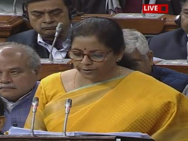 Union Finance Minister presenting the Union Budget in Parliament on Saturday (Photo: LS TV)