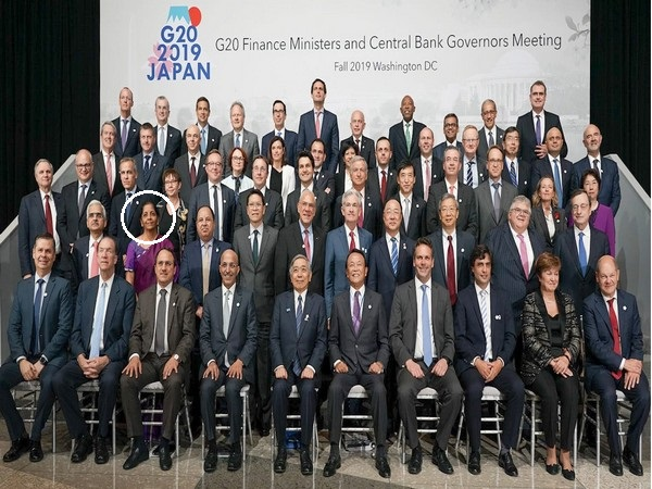 Sitharaman (in second row from front) on the sidelines of WB-IMF annual meetings in Washington DC on Thursday