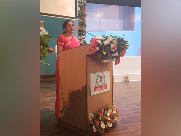 Finance Minister Nirmala Sitharaman addressing tax officials in Ahmedabad, Gujarat on Friday. (Photo/ANI)