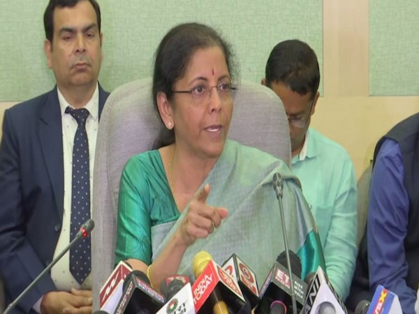 Union Finance Minister Nirmala Sitharaman speaking to reporters in New Delhi on Friday (Photo:ANI)