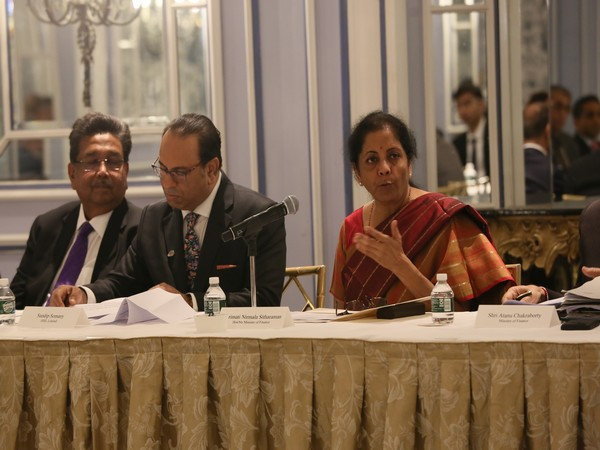 Union Finance Minister Nirmala Sitharaman (right) in New York on Wednesday