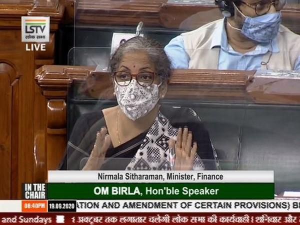 Union Finance Minister Nirmala Sitharaman speaking in Lok Sabha on Saturday. [Photo/ LS TV]