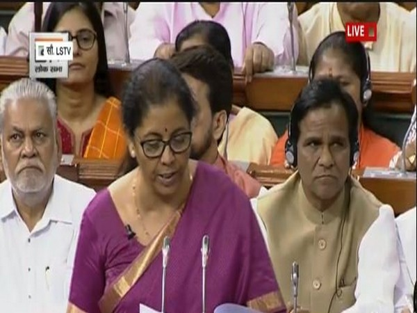 Finance and Corporate Affairs Minister Nirmala Sitharaman presenting Union Budget 2019-20 in the Lok Sabha on Friday. (Courtesy: LS TV)