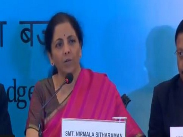 Union Finance Minister Nirmala Sitharaman speaking at a press conference in Kolkata on Sunday. Photo/ANI
