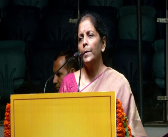Union Finance Minister Nirmala Sitharaman addressing 'Cooperative Group Housing Society Maha Sammelan' in New Delhi on Sunday. Photo/ANI