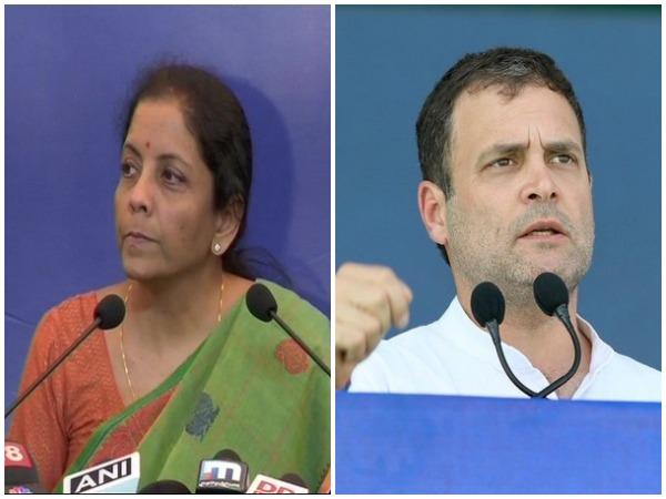 Defence Minister Nirmala Sitharaman and Congress president Rahul Gandhi (File photo)