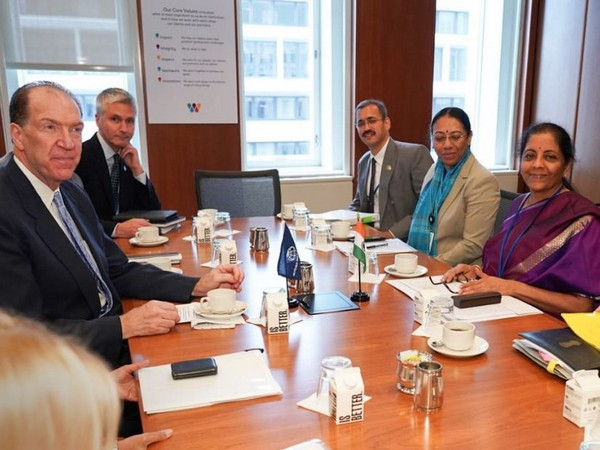 Finance Minister Nirmala Sitharaman (right) at a meeting with World Bank President David Malpass in Washington D.C.