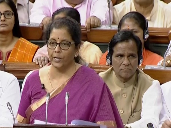 Finance Minister Nirmala Sitharaman presenting the Budget in Parliament on Friday. (Image Courtesy by LSTV)