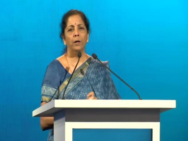 Finance Minister Nirmala Sitharaman speaking at India Energy Forum CERAWeek Summit in New Delhi on Monday. (Photo/ANI)