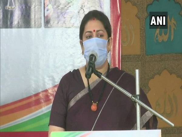 Union Minister Smriti Irani addressing Muslim women here to commemorate the first anniversary of law against Triple Talaq.
