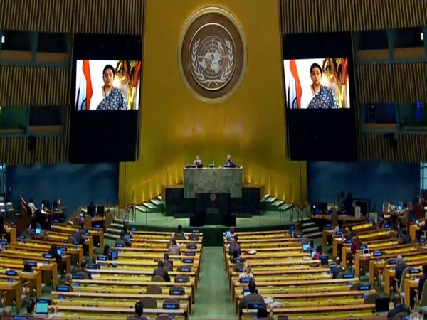 Union Minister for Women and Child Development, Smriti Irani speaking at the United Nations.
