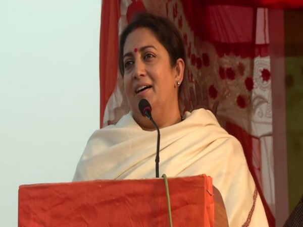 Union Minister Smriti Irani speaking at an election rally in Ranchi on Sunday. Photo/ANI