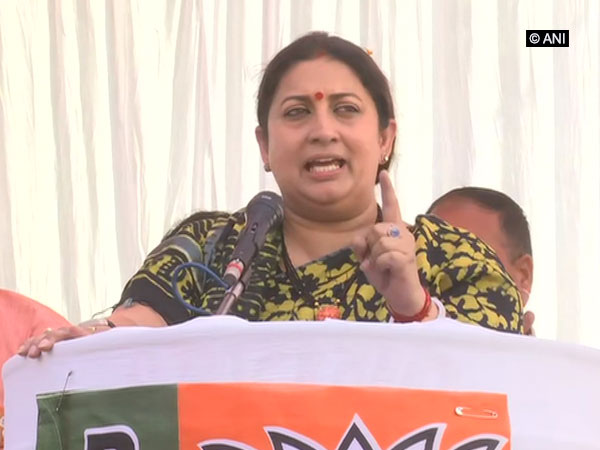 Smriti Irani addressing a public rally in Amethi. Photo/ANI