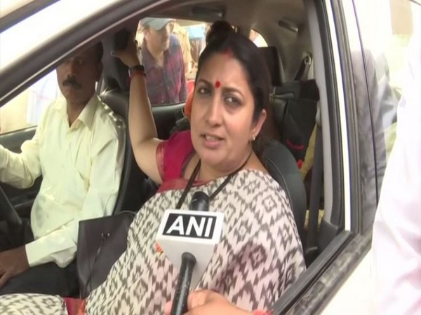 Union Minister Smriti Irani talking to ANI in Amethi on Sunday. Photo/ANI