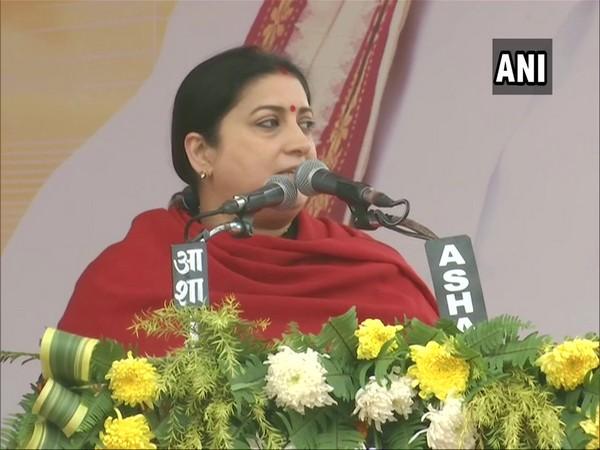 Union Minister Smriti Irani speaking at a public function in Varanasi on Saturday. Photo/ANI