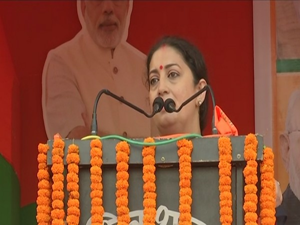 Union Minister Smriti Irani speaking at an election meeting in Bikram on Saturday. [Photo/ANI]