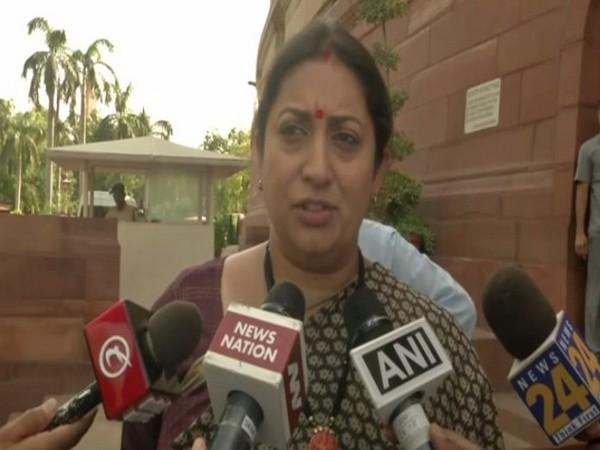 Union Textiles Minister Smriti Irani while speaking to ANI in New Delhi on Wednesday. Photo/ANI