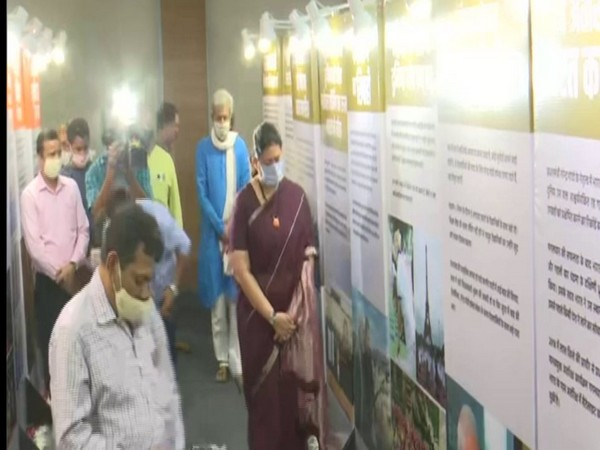 Smriti Irani attends 'Seva Saptaah' exhibition in New Delhi on Wednesday. Photo/ANI