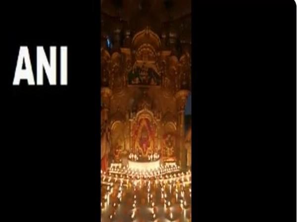 Visuals of the earthen lamps being lit at Shri Siddhi Vinayak Ganpati Mandir in Mumbai on Sunday.
